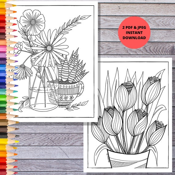 Printable Coloring Page Flower Floral Spring Coloring Etsy