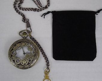 ste&unk pocket watch fob watch time piece groomsmanwedding best man costume  accessories & Steampunk pocket watch black fob watch pocket watch chain