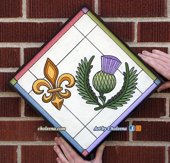 Fleur De Lys Chardon Papier Carrelage Mosaique Petit Etsy
