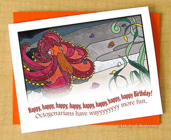 80 89 Years Old Happy Birthday Octopus Octogenarian Card