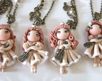 doll polymer clay neckelace