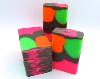Neon Bubbles goat milk artisan soap