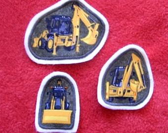 3 Patch Application Excavator Shovel Yellow