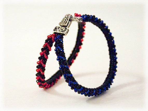 BlueRed bracelet beading TUTORIAL