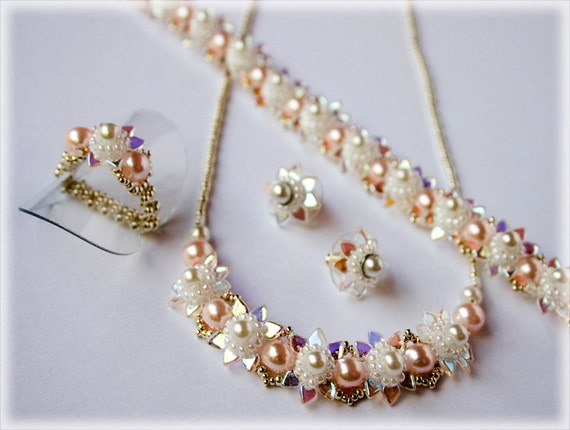 Libling set (necklace, bracelet, earrings, ring) beading TUTORIAL