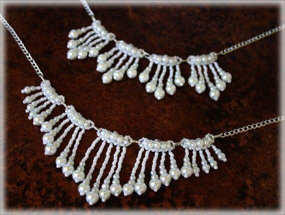 WhitePearls necklaces beading TUTORIAL