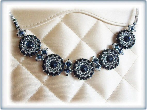 Blue Crystal necklace beading TUTORIAL