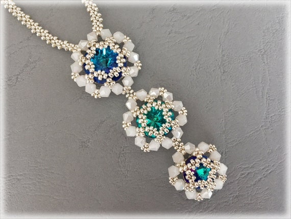 3Flowers pendants and necklace beading TUTORIAL