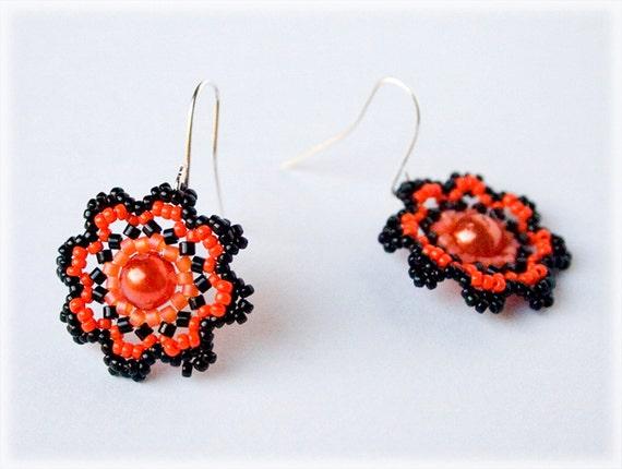 Orange flower earrings beading TUTORIAL