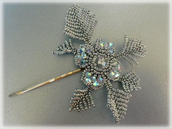 SilverFlower hair accessory beading TUTORIAL