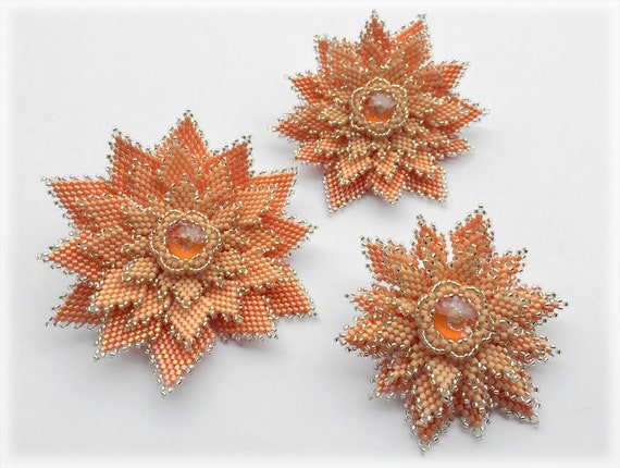 Flowers brooches in 3 sizes beading TUTORIAL