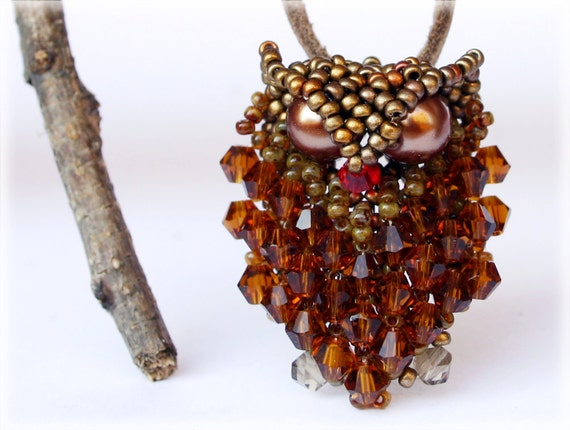 Owl pendant beading TUTORIAL