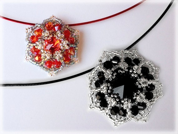 StarFlowers pendant beading TUTORIAL