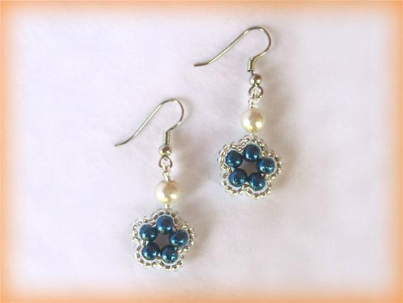 Blue flower earrings beading TUTORIAL