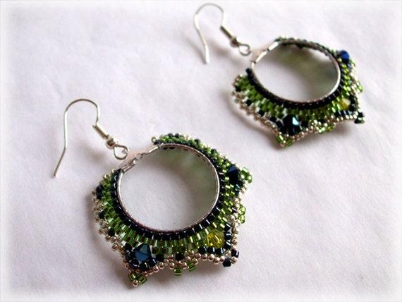 Peacock earrings beading TUTORIAL