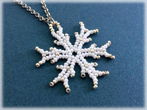 SnowFlake pendant beading TUTORIAL