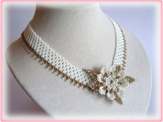 Wedding Flower necklace beading TUTORIAL
