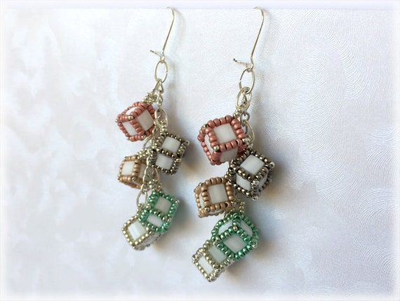 CubeDice earrings beading TUTORIAL