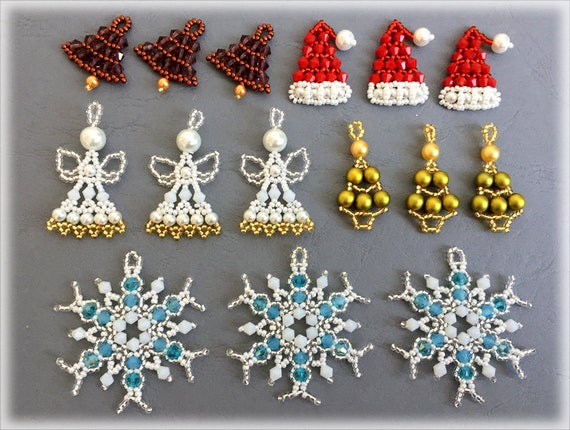 Christmas 5 motifs beading TUTORIAL
