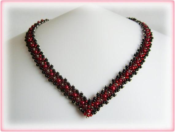 Pearl ribbon necklace beading TUTORIAL