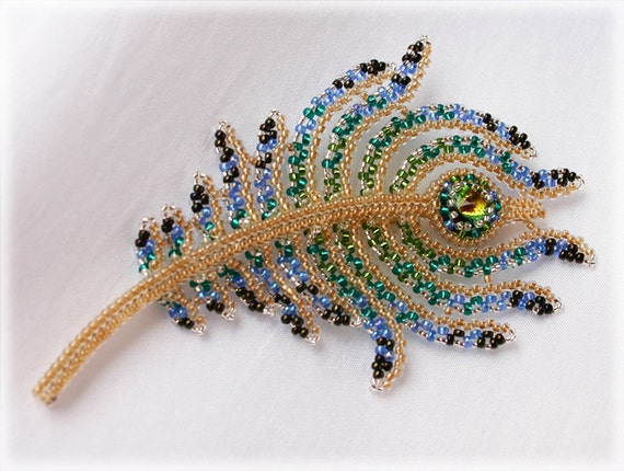 Peacock Feather brooch beading TUTORIAL