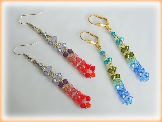 Long Crystal earrings beading TUTORIAL