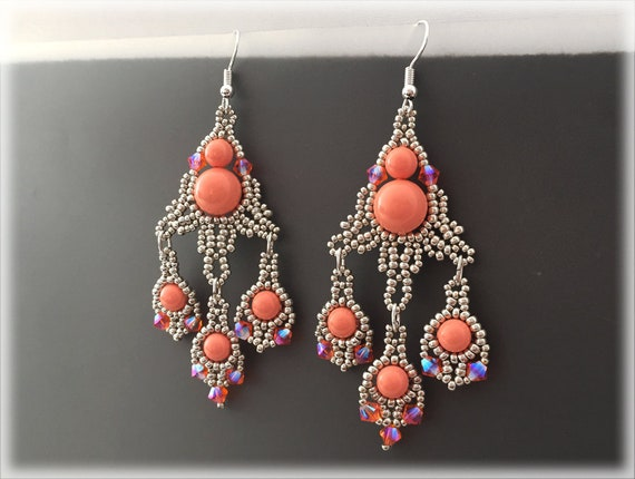 PeachDrop earrings beading TUTORIAL