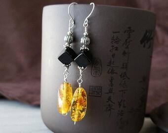 Handmade Sterling Silver Natural Baltic Amber Earrings, Honey Gold Amber