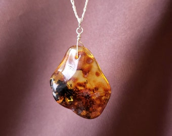 Large Amber Necklace Boho Necklace Bohemian Jewelry Baltic Amber Pendant Necklace Raw Amber Pendant