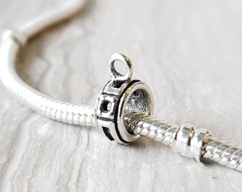 f196944ef Charm Bead Holder Spacer Bead, Spacer Bead, Compatible with Pandora and  Trollbead, Sterling Silver Bail, Jewelry Making, Charm Holder