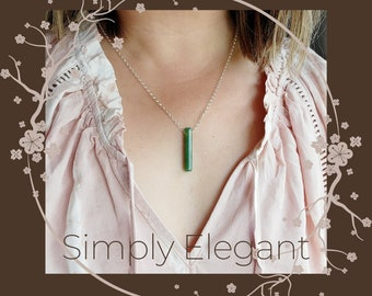 Green Jade Vertical Bar Pendant, Thin Stick Pendant, Barrel Pendant, Genuine Jade Necklace, Gift for Him and Her, Good Luck Pendant