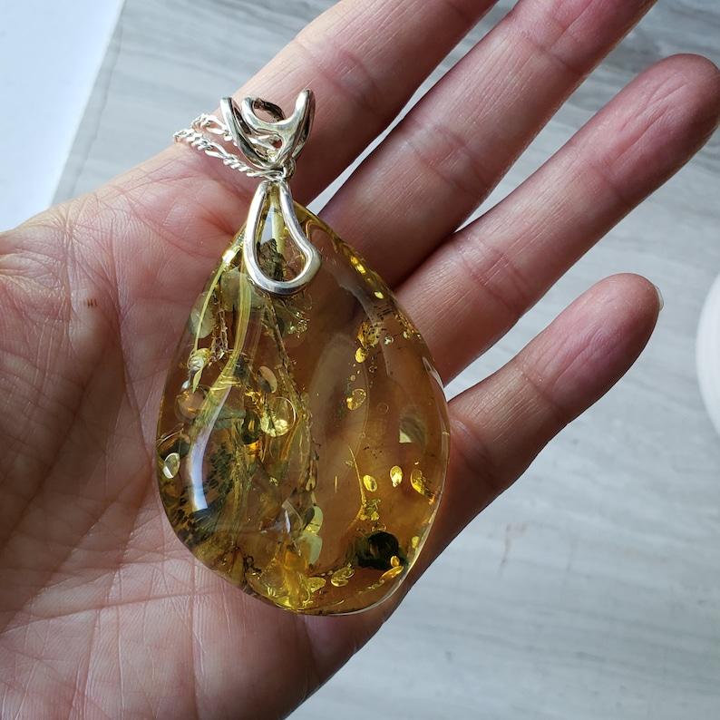 Large Baltic Amber Pendant Chakra Jewelry Girlfriend Gift Wife Gift Healing Stone Baltic Amber Necklace