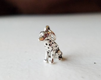 Solid 925 Silver Dalmation Dog Charm Pendant, Silver Charm, Silver Pendant