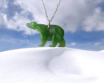 Large Green Jade Polar Bear Pendant,  Natural Jade Polar Bear Charm, Carved Jade Polar Bear, Gift, Parent, Good Luck Pendant