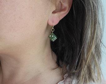 Jade Dice Earrings, 3-D Jade Dangle Earrings, Rolling Die Earrings, Fortune and Good Luck Earrings