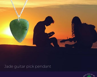 Jade Guitar Pick Pendant, Jade Stone Meditation Necklace, Fortune and Good Luck