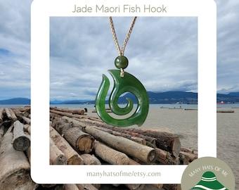 Large Genuine Jade Maori Fish Hook Pendant Necklace, Natural Jade Fish Hook Charm, Carved Jade Fish Hook, Gift, Parent, Good Luck Pendant