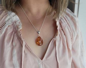 Baltic Amber Pendant, Baltic Amber Necklace, Honey Amber, Chakra Jewelry, Wife Gift, Girlfriend Gift