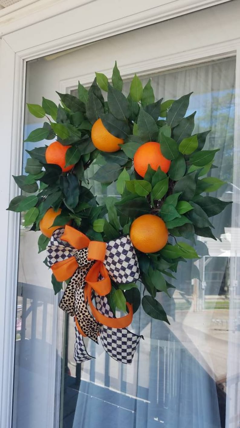 Summer Wreath~Citrus Wreath~Orange Wreath~Everyday Wreath~Front Door Wreath~Greenery Wreath~Kitchen Wreath~Flat Wreath~Between Doors Wreath