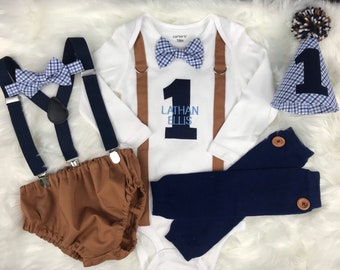 Vintage Boy Cake Smash Preppy Birthday Outfit 1st