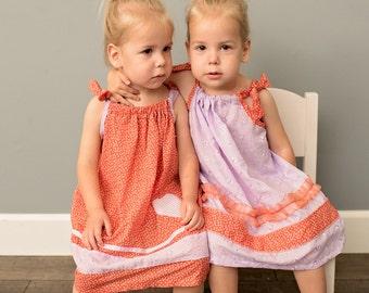 Twin Sisters Pillowcase Dresses, Twins Matching Dresses, Sisters Matching Dresses