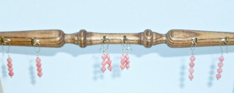 Pink coin bracelet in sea bamboo with sterling silver.