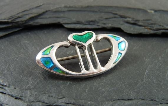 Art Nouveau Silver & Enamel Heart Shaped Brooch