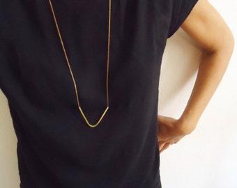 Geometric pendant -  bronze and cooper chain - simple - minimalist - modern - contemporary jewelry