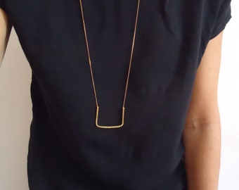 Geometric necklace -  bronze and cooper - square - simple - minimalist - modern - contemporary jewelry