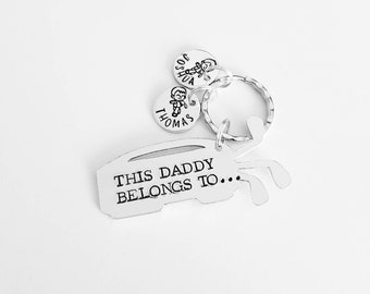 Daddy gift Golf fans This Daddy belongs to unique hand stamped keyring great Fathers day or birthday gift