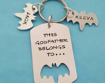 This Godfather belongs to unique hand stamped keyring great Fathers day or birthday gift christmas present or stocking filler for him