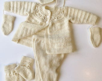 Cashmere baby pram suit  hand knitted