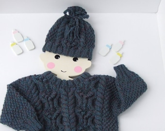 Scottish Aran, hand knitted childs sweater,winter woolies,boys sweater and hat,Aran knitwear,Made in Scotland