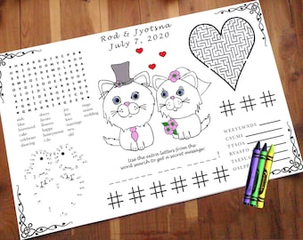 Cat Wedding Activity PDF.  Your Names & Date. You choose Genders. Coloring, Maze, Dot to Dot